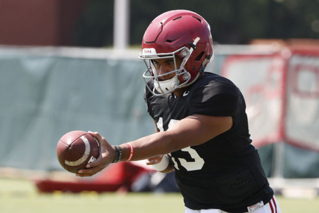 8/14/18 MFB Practice Alabama quarterback Tua Tagovailoa (13) Photo by Robert Sutton 8/14/18 MFB Practice Alabama quarterback Tua Tagovailoa (13) Photo by Robert Sutton