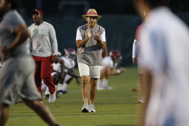 08-13-18 MFB Practice Alabama Nick Saban Head Coach Photo by Amelia B. Barton 08-13-18 MFB Practice Alabama Nick Saban Head Coach Photo by Amelia B. Barton