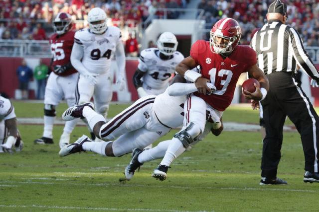 11-10-18 MFB vs MSU Alabama quarterback Tua Tagovailoa (13) Photo by Robert Sutton 11-10-18 MFB vs MSU Alabama quarterback Tua Tagovailoa (13) Photo by Robert Sutton