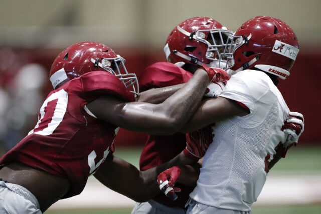 8/16/19 MFB vs Practice Alabama wide receiver John Metchie (3) Photo by Kent Gidley