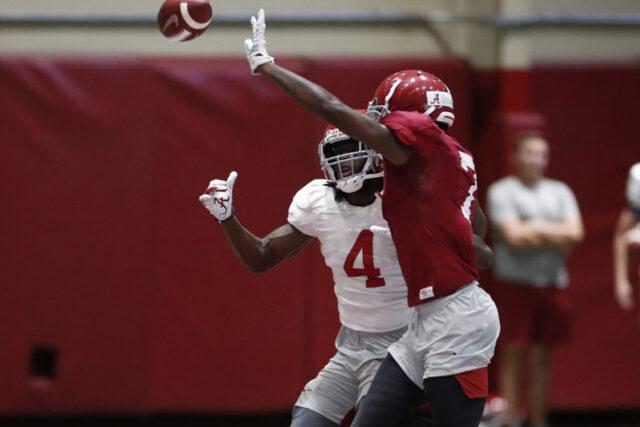 8/16/19 MFB vs Practice Alabama wide receiver Jerry Jeudy (4) Alabama defensive back Trevon Diggs (7) Photo by Kent Gidley
