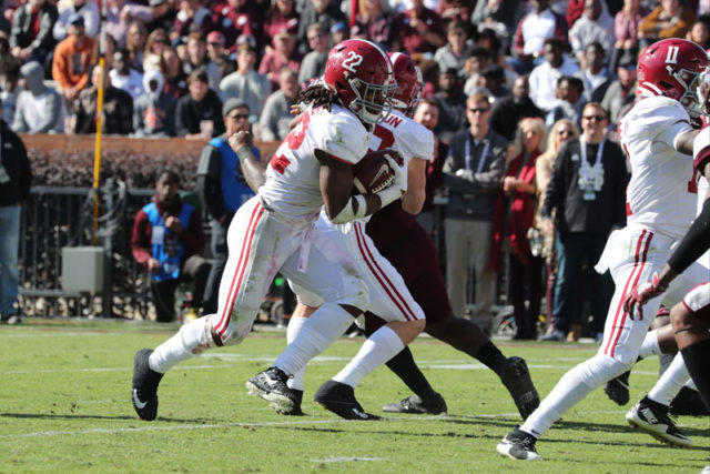 11/16/19 MFB vs MSU Alabama runningback Najee Harris (22) Photo by Kent Gidley
