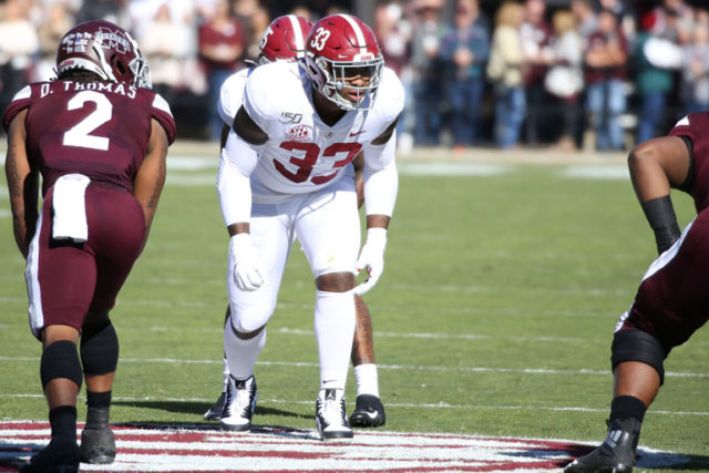 11/16/19 MFB vs MSU Alabama linebacker Anfernee Jennings (33) Photo by Kent Gidley